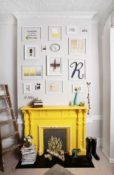 Fire place painted a bright colour, amazing focal point and pop of colour at the same time... stunning!