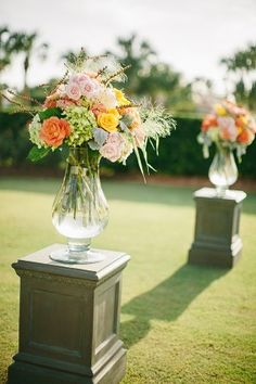 Peach Ceremony Decor by http://www.lizflowers.com/   photography by http://www.brookeimages.com/