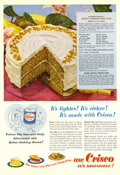 "Crisco Banana Spice Cake with Peanut Brittle Crunch Icing Recipe from ""Good Housekeeping"" Crisco Recipes, Old Recipes, Cake Recipes, Cooking Recipes, Retro Recipes, Vintage Recipes, Vintage Food, 1950s Recipes, Retro Food"