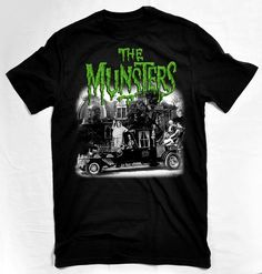 The original cast of the famous Munsters, displayed with the family Coach. Distressed image with the very cool green Munsters logo!
