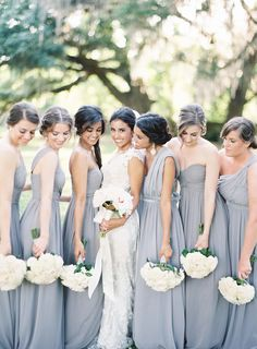 A stunning sterling wedding! Featured on @Stylemepretty as a top bridesmaid dress for Fall 2014