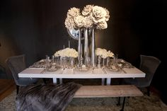 Flower Arrangements Inspiration: Modern Silver Wedding Centerpiece