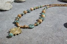 Gemstone Necklace, Ethnic Tribal Jewelry, Boho Hippie Jewelry, Spiritual Earthy African Turquoise Jasper Brass, Natural Stone Necklace