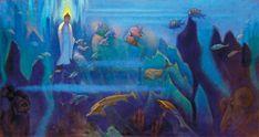 Н.К.Рерих. Испытатель [Будда на дне океана]. 1946 Холст, темпера. 74,5х154