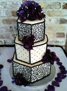 Gorgeous Ivory, Black and Dark purple  wedding cake