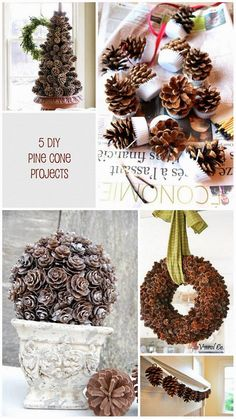 5 Pine Cone DIY projects for your home for Fall. I have lots of pine cones around my place. Diy Projects For Fall, Christmas Projects, Fall Crafts, Holiday Crafts, Holiday Fun, Easy Projects, Christmas Ideas, Diy Crafts, Noel Christmas