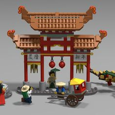 The first day of the Chinese New Year falls on the new moon between 21 January and 20 February every year. Together with the New Year follows great celebration and a lot of fun. The build is quite unique because it a lot of different technics and angles, the sets main build is a traditional Chinese arch called a paifang or a pailou. Along with this the set also contains a fountain, four minifigs, a carriage and a hybrid lion-dragon dancer.