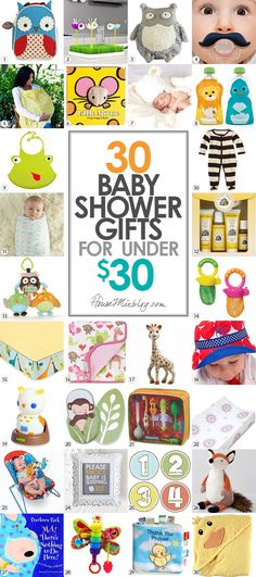 30 baby shower gift ideas for under $30. Inexpensive, useful and fun present ideas for baby and mother to be.