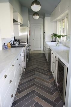 Great herringbone floors.