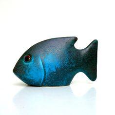Ceramic Fish Sculpture Turquoise Fish by jorgemealha on Etsy, €30.50
