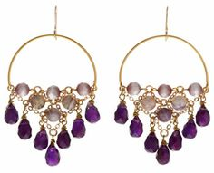 Hoop earrings with cascade chain embellished with Cat's eye and Jasper and Amethyst stones