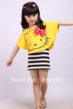 wholesale new fashion girls clothes bowknot hello kitty T-shirt+dress set kids clothes children dress summer 2013 freeshipping $13.80 THIS TOO !