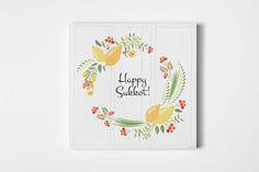 Happy Sukkoth Floral Wreath by Alps View Art on Creative Market