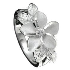 925 Silver Plumeria w/ Maile Leaf Ring Size 8 - http://finejewelrygalleria.com/jewelry/rings/925-silver-plumeria-w-maile-leaf-ring-size-8-com/