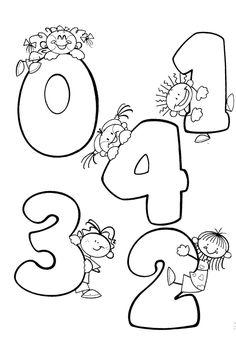 Dibujos Para Colorear Preescolar. Números 0, 1,2,3, 4. Cero, uno, dos, tres, cuatro.