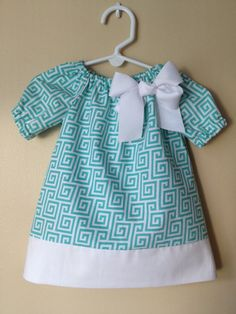 Baby Girl Turquoise Peasant Dress w/ Detachable by Emoryscloset, $28.00