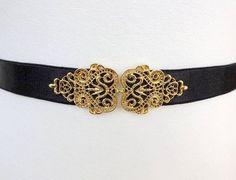Black Elastic Waist Belt. Vintage gold buckle. por AtufaAccessories, $26.00