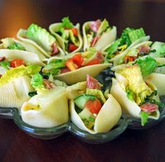 Salad Stuffed Shells- filled with antipasto, great finger food for a party!