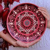 Марсала. Декоративная тарелка в технике точечной росписи.