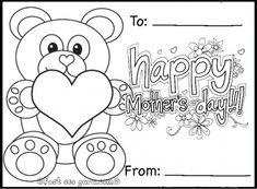 Free Printable happy mothers day teddy bear card coloring in pages for kids.crafts for kids happy mothers day teddy bear card coloring in print out for kids.morsdagskort fargelegge tegninger