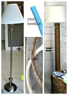 Pool Noodle***Top 21 The Best DIY Pool Noodle Home Projects and Lifehacks Floor Lamp Makeover, Diy Floor Lamp, Piscina Diy, Pool Noodle Crafts, Rustic Cabinets, White Cabinets, Ideas Hogar, Diy Pool, Pool Noodles