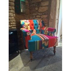 Woodstock Armchair vintage style patchwork in velvet material caster wheels with hard wood frame made in Uk Retro Armchair, Retro Sofa, Vintage Sofa, Vintage Furniture, Recycled Wood, Sofa Design, Vintage Designs, Sofas, Patchwork Chair