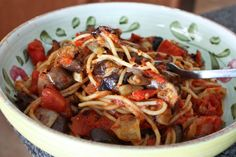 Spaghetti with Roasted Vegetables and Eggplant via @Aggie's Kitchen