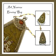 Art Nouveau Evening Handbag  Measures: Approx. Body of the bag 10 x 5 1/2 (at widest portion)   Drop 5 1/2   Dangles 2  Mark: None  Condition: Very Good vintage condition  What a stunning evening bag c. 1920s  - Beautiful Art Nouveau design  - Floriated embellishments including dimensional embroidery  - Stunning sophisticated color story Olivine fabric, embroidered with mauve, turquoise, amethyst, green, and gold tone threads and beading  - Very special foiled faux amber cabochons a...