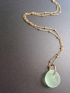 Elegant Kauai Sea Glass necklace..in sea foam green.  Sterling or gold chain...love this!  Want it!
