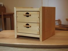 二段小箱抽斗 - 栗山町の木工家具ショップ、木の工房 mono moman(モノ モマン、monoman)