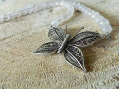 Items similar to Fine silver filigree butterfly pendant with rose quartz necklace on Etsy