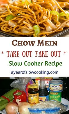 Step by step instructions on how to make perfect take out style chow mein at home. Use the slow cooker to cook the veggies and meat while you are at work, then come home to pan fry the noodles and toss with the sauce and meat and veggies.