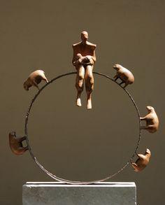 """Shepherd"" height, Wood and Metal in: Barg Gallery ' Tehran-Iran Sculpture Head, Wood Sculpture, Bronze Sculpture, Wood And Metal, Metal Art, Mixed Media Sculpture, Ceramic Figures, Small Sculptures, Fine Art Photography"