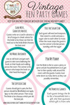 Vintage Hen Party Games ideas