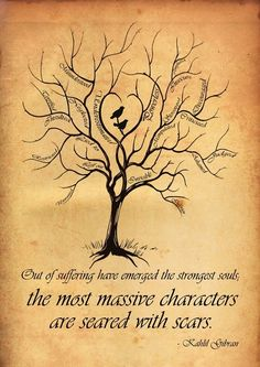 "Love this quote: ""Out of suffering have emerged the strongest souls; the most massive characters are seared with scars."" - Kahlil Gibran I like the tree. without the words, or birds Quotable Quotes, Bpd Quotes, Profound Quotes, Insightful Quotes, Positive Quotes, Beautiful Words, Beautiful Soul, Vulnerability, Picture Quotes"