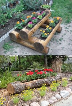 19 Amazing DIY Tree Log Projects for Your Garden,Tree logs and fallen tree trunks are great materials for nature-inspired garden decorations. They will add rustic touch to your garden and will be als. Diy Garden, Garden Planters, Garden Art, Garden Ideas, Wood Planters, Balcony Garden, Log Projects, Garden Projects, Outdoor Projects