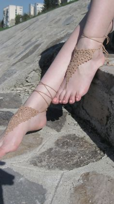 Brown Crochet Barefoot Sandals, Brown Nude shoes,Wedding foot jewelry, accessories, Anklet , Beach accessories  $13.00 USD
