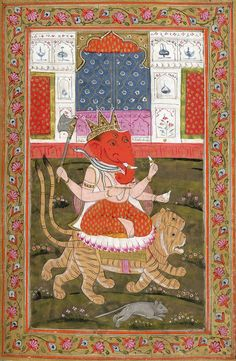 Ganesha 18th century. Kashmir, India. This is one of 12 miniatures from a manuscript of Hindu rituals and devotional tracts. The manuscript is written in the Sanskrit language, in Sarada script. It has 74 pages and was made in Kashmir during the 18th...