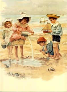 "Delightful~Children at the seashore ""Sea shells, sea shells down by the seashore"""