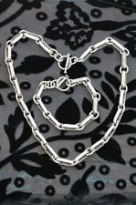 VINTAGE MEXICAN HEAVY HAND MADE STERLING SILVER CHAIN NECKLACE & BRACELET SET
