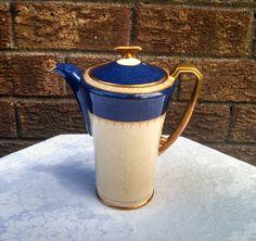 Vintage 1930s Crown Devon Fielding's Modane Art Deco Cobalt Blue and Gold Coffee Pot by AnchorLineVintage on Etsy