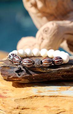 Pave Diamonds and Egyptian Kuka Beads Tribal by HappyGoLuckyJewels