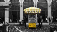Urban yellow @Athens #urban_yellow #plaza #Monastiraki #Athens #market #urbanism #city_centre #yellow_kiosk #blackandwhitephoto #greyscale #yellow #stripes #metro_station #urban_photography #illustration