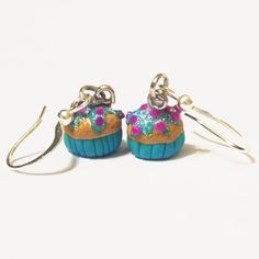 Cupcake dangle earrings, blue frosting with radiant orchid sprinkles on Etsy, $16.00