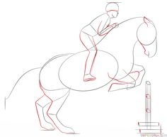 Drawing For Beginners How to draw a jumping horse step by step. Drawing tutorials for kids and beginners. Easy Horse Drawing, Horse Drawing Tutorial, Horse Pencil Drawing, Horse Drawings, Art Drawings Sketches, Easy Drawings, Animal Drawings, Arte Equina, Horse Sketch