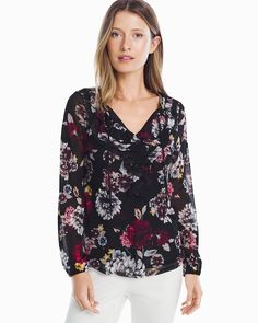 Long Sleeve Floral Ruffle Blouse