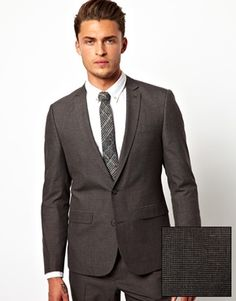 $100 ASOS Slim Fit Suit in Charcoal Dogstooth. 100% polyester and no jacket length option :/