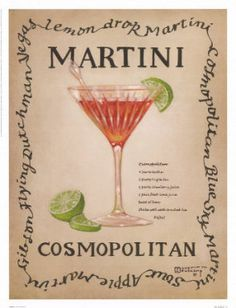 Cosmopolitan, an original painting, personally by artist Janet Kruskamp showing a clear single stem martini glass with a green olive, stirrer and lemon twist. The recipe for a dry martini is next to the glass. Cocktail Drinks, Alcoholic Drinks, Beverages, Pink Cocktails, Cocktail Mix, Liquor Drinks, Cocktail Ideas, Fun Drinks, Cosmopolitan