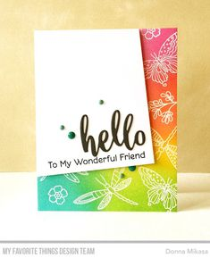 Stamps: Fluttering Friends Die-namics: Thanks & Hello Donna Mikasa Card Making Inspiration, Making Ideas, Jennifer Mcguire Ink, Rainbow Card, Butterfly Cards, Cards For Friends, Card Sketches, Sympathy Cards, Clear Stamps