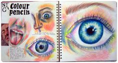 Coloured pencil facial features Sketchbook Layout, Gcse Art Sketchbook, Sketchbook Inspiration, Sketchbook Ideas, Observational Drawing, A Level Art, Ap Art, Human Art, Art Portfolio